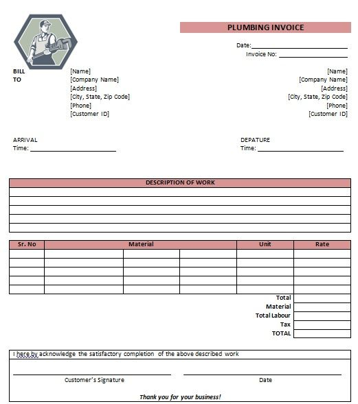 Plumbing Invoice Form  Office Products