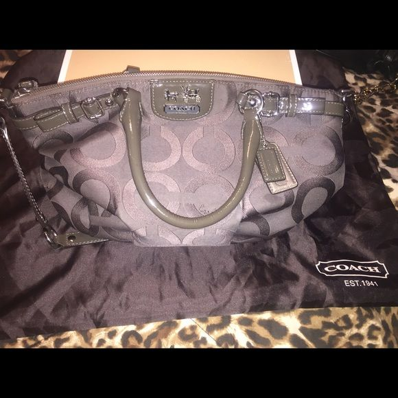 Gray Coach purse Medium gray coach purse perfect size! Does have a couple of stains on the inside as seen in pictures. Bought at Macy's. Smoke free home still have original tags inside purse. Comes with dust bag Coach Bags Hobos