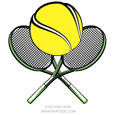 Tennis Ball With Crossed Rackets Sportsartzoo Tennis Ball Tennis Tennis Games