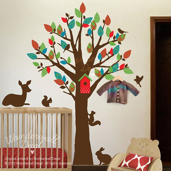 Children Wall Decal,  tree wall decal ,deer, squirrel, rabbit, pattern, Kids wall decal Wall Sticker, wall decor