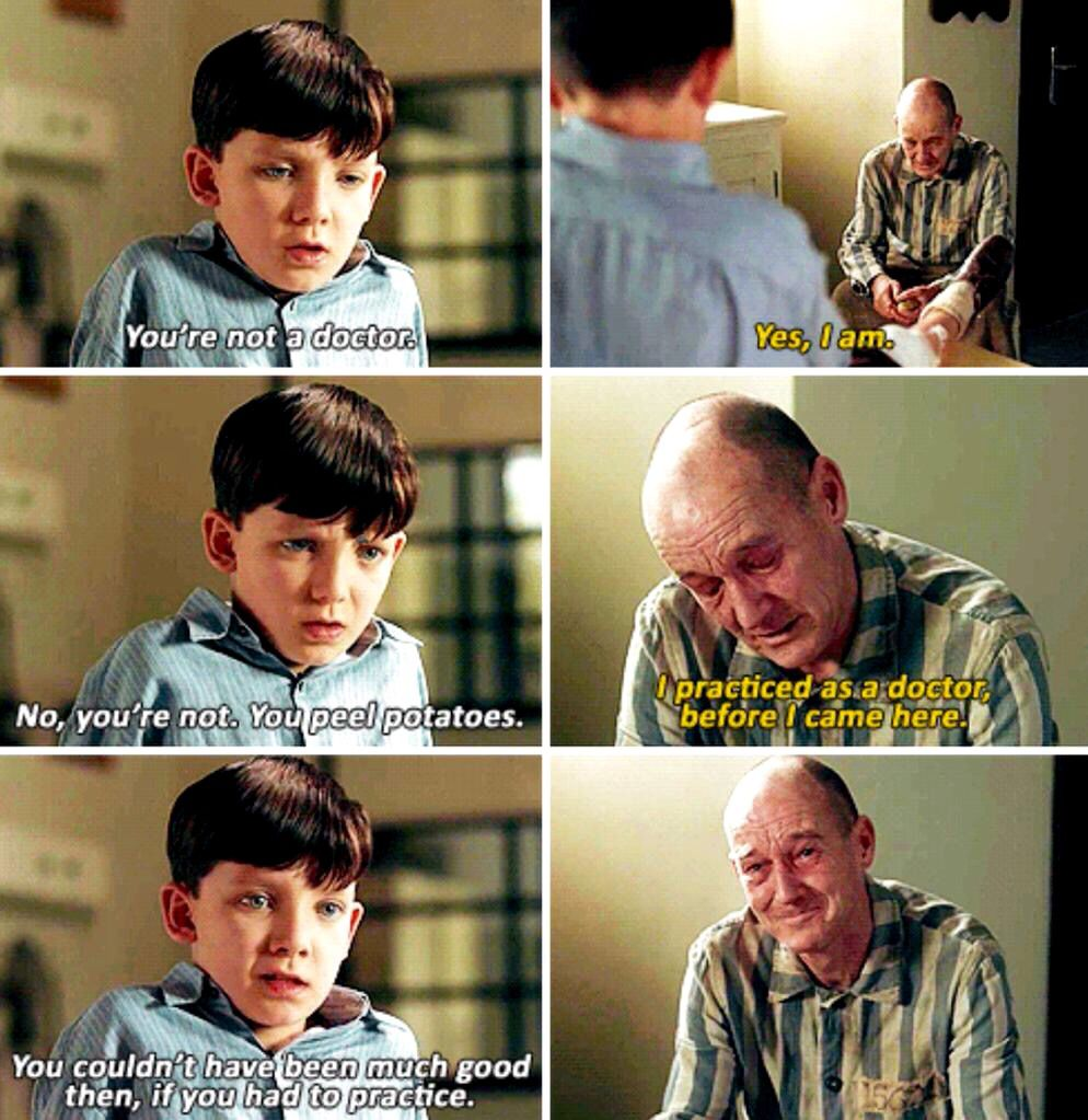 The boy in the striped in pajamas so much innocence