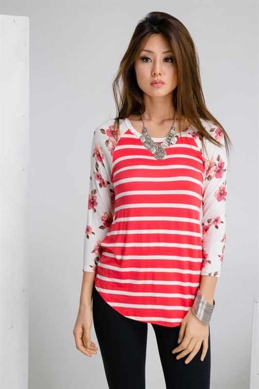 8e7f371469 Floral Sleeve Top- like the color and pattern