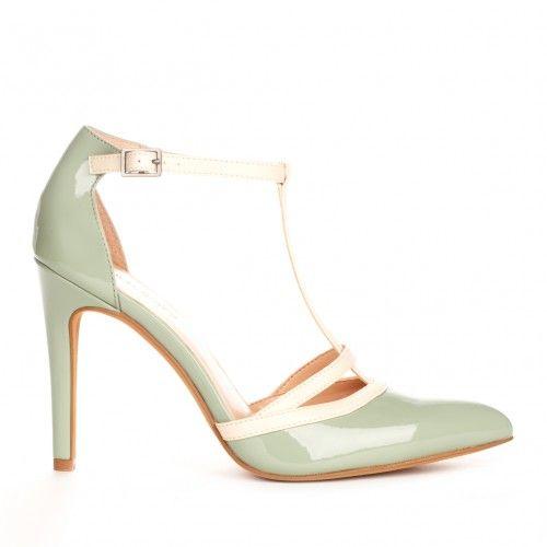 Nicola t-strap heel - Mint Ecru