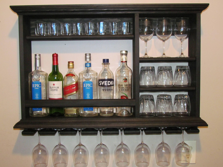 Mini Bar Black Stain Liquor Cabinet 3 X2 Wall Etsy Mini Bar