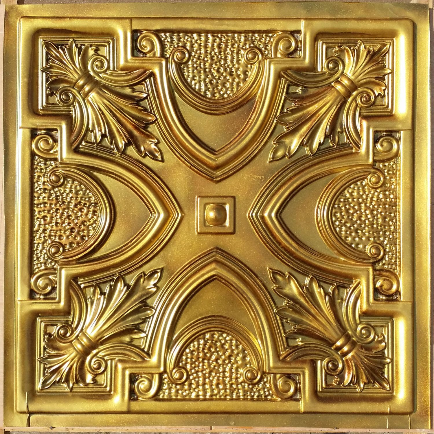PL11 Faux finishes aged gold 3D embossed ceiling tiles Interior wall ...