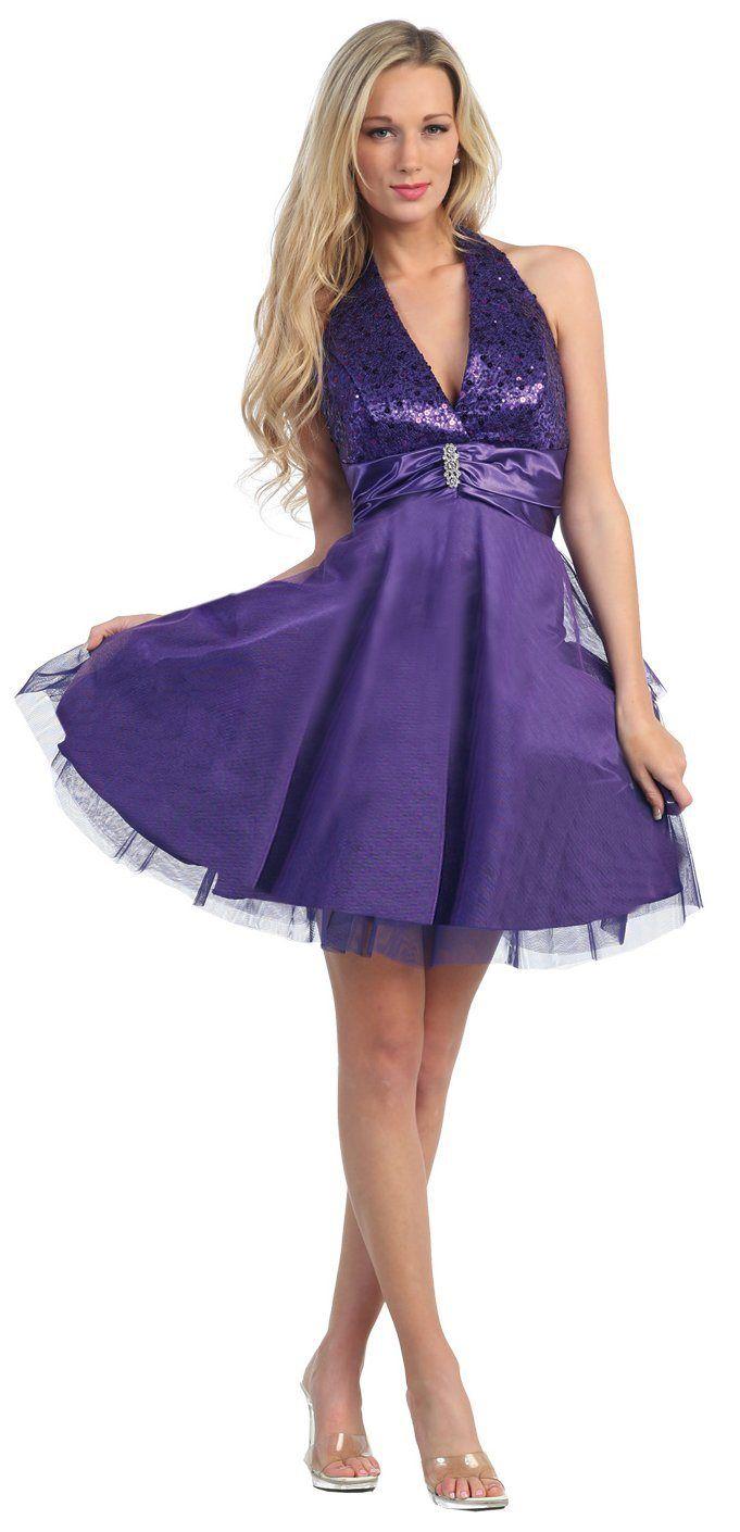 5468a4e3b89685 Purple Halter Homecoming Dress Sequin Top Mesh Tulle Overlay Skirt  117.99
