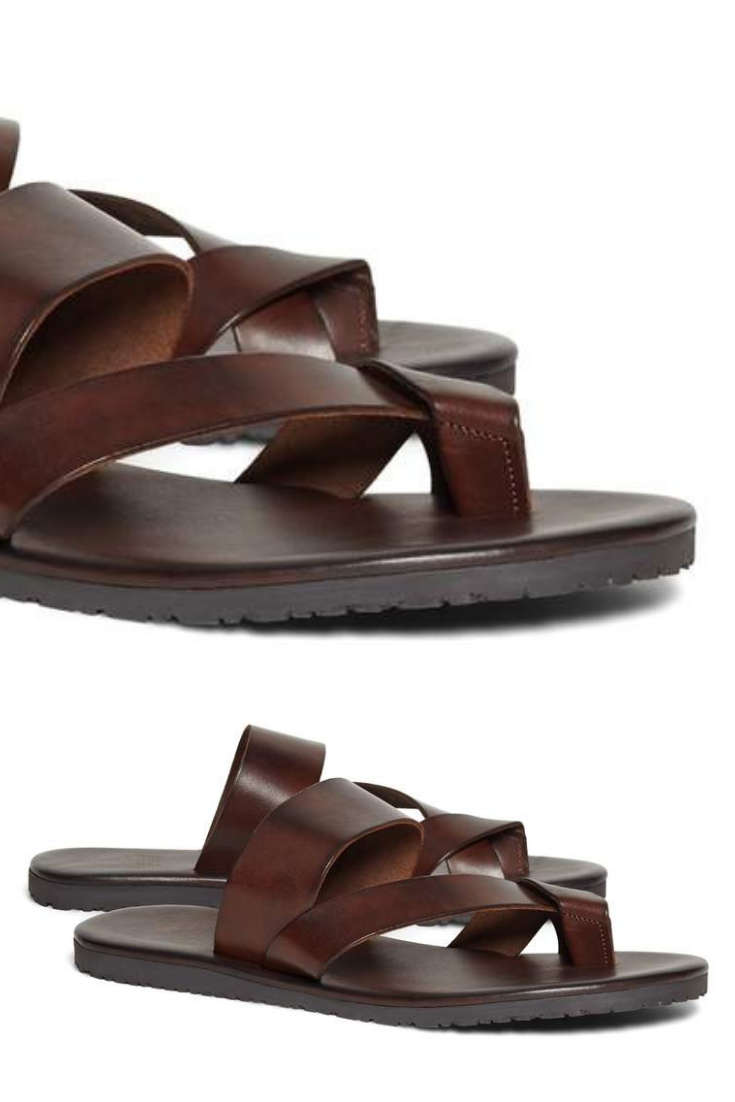 cbdf2dd61de66 Brooks Brothers Leather Criss-Cross Sandal men sandal