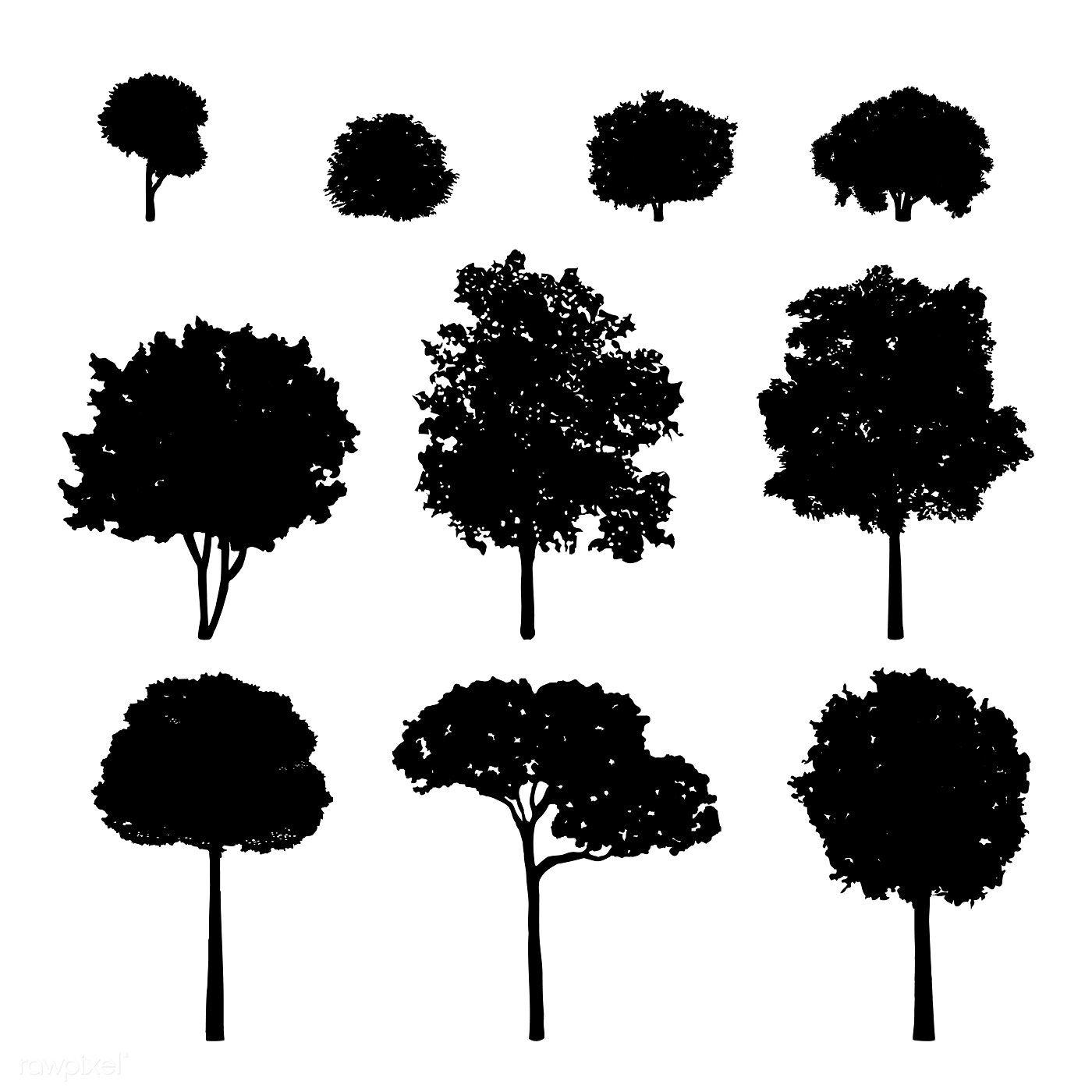 Collection of tree silhouettes vector free image by