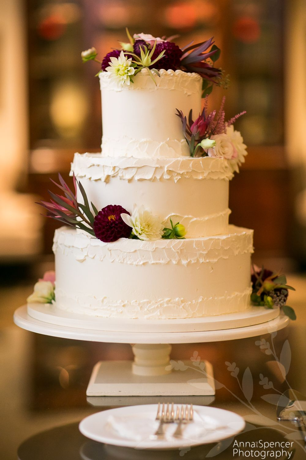 Maroon Fl Wedding Cake By Frosted Pumpkin Bakery