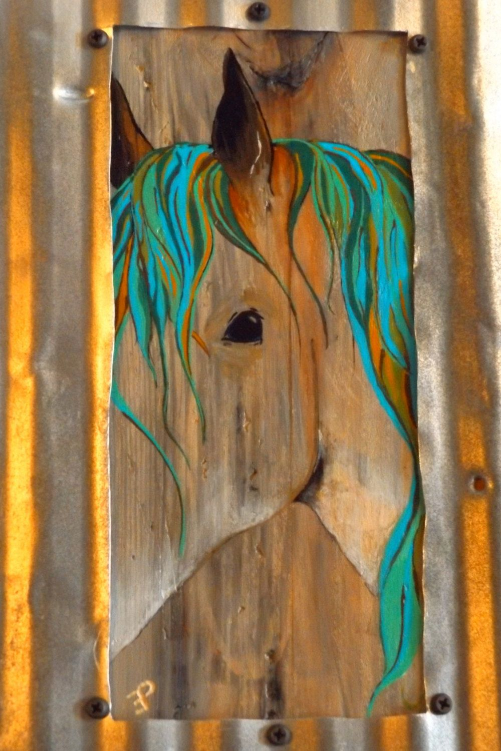 The Forest Original Hand Painted Horse On Reclaimed Wood Framed With Tin Abstract Rustic Art Wall Decor By Itsallcountry