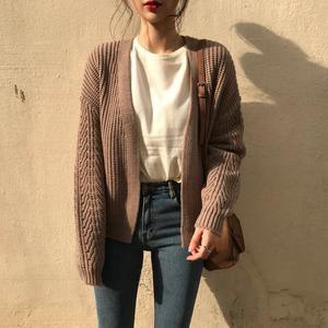 Loose Twist Knitted Cardigans V-neck Open Stitch Sweater Knitwear Outwear #manoutfit