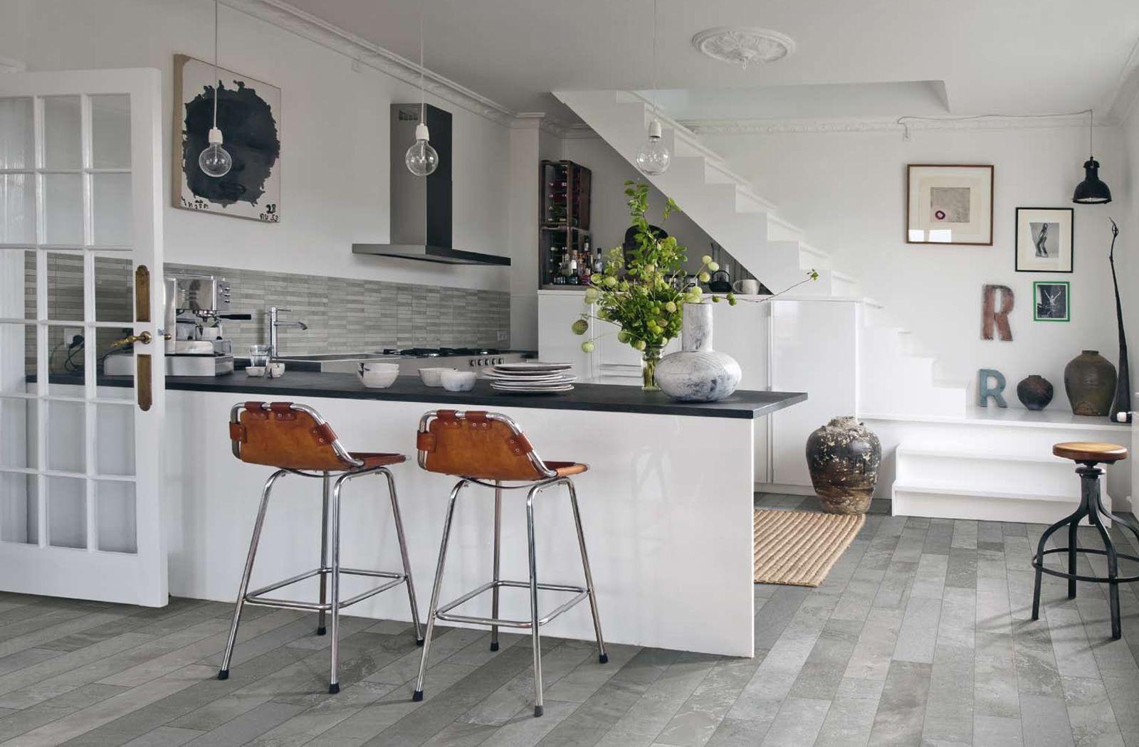 Open Concept Grey And White Kitchen Idea With Burlington Tile From 41zero42 Grey Kitchen Floor Grey Kitchen Tiles Kitchen Flooring