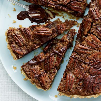 Best Bourbon-Pecan Tart with Chocolate Drizzle Recipe
