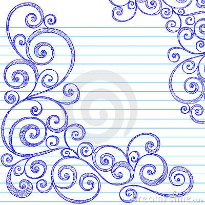 Sketchy Doodles Swirls on Notebook Paper Vector by Blue67, via Dreamstime