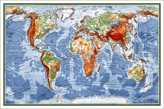 Huge Map Of The World.Huge World Map Detailed Map Of The World Up To 8feet X 5feet Wall