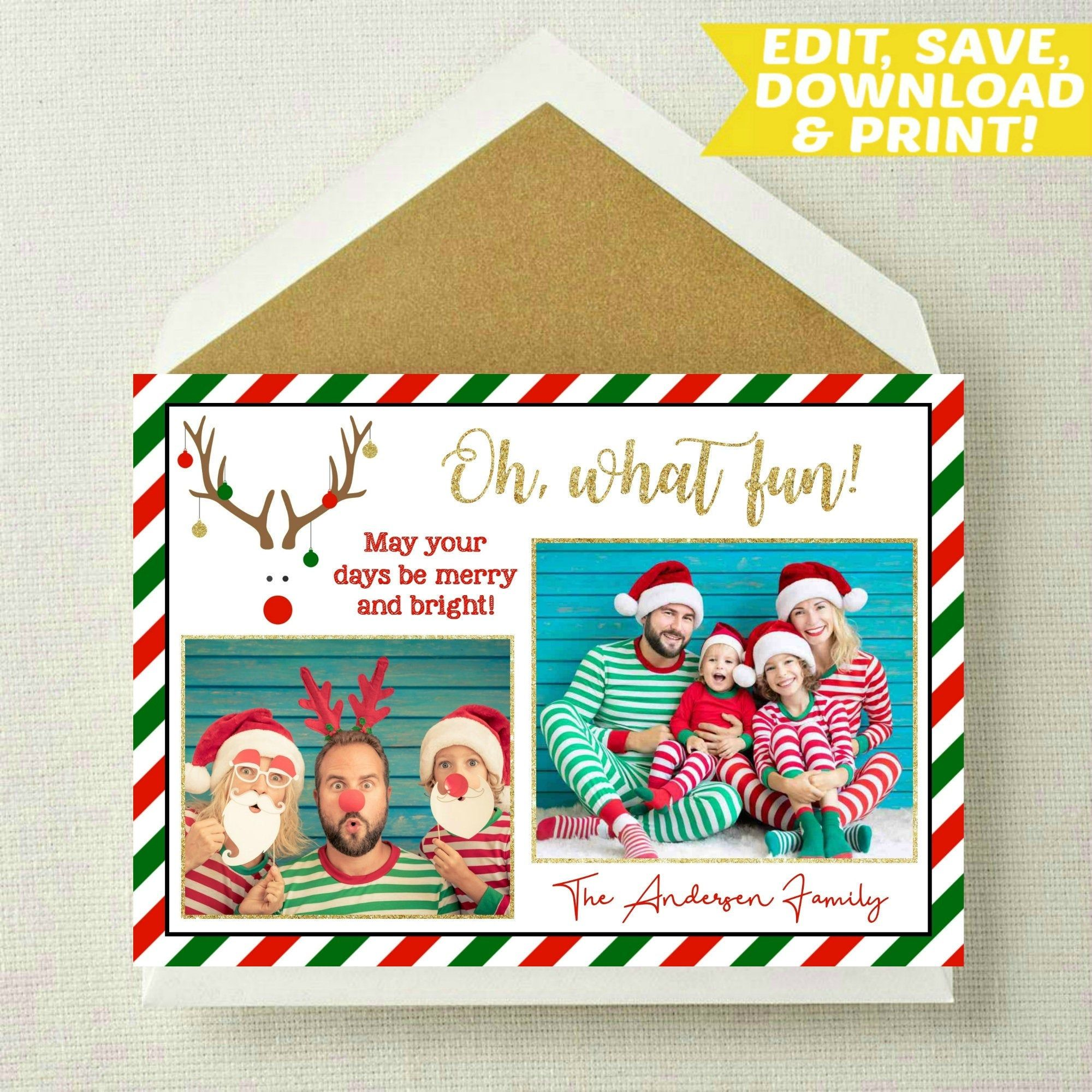 Editable Christmas Card Reindeer Christmas Card Holiday Card Funny Family Christmas Ca Family Christmas Cards Funny Holiday Cards Christmas Card Template