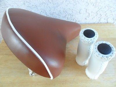 dd72983ada Beach Cruiser Bike Saddle Seat *BROWN w/Springs +leather Grips Handlebar  Comfort