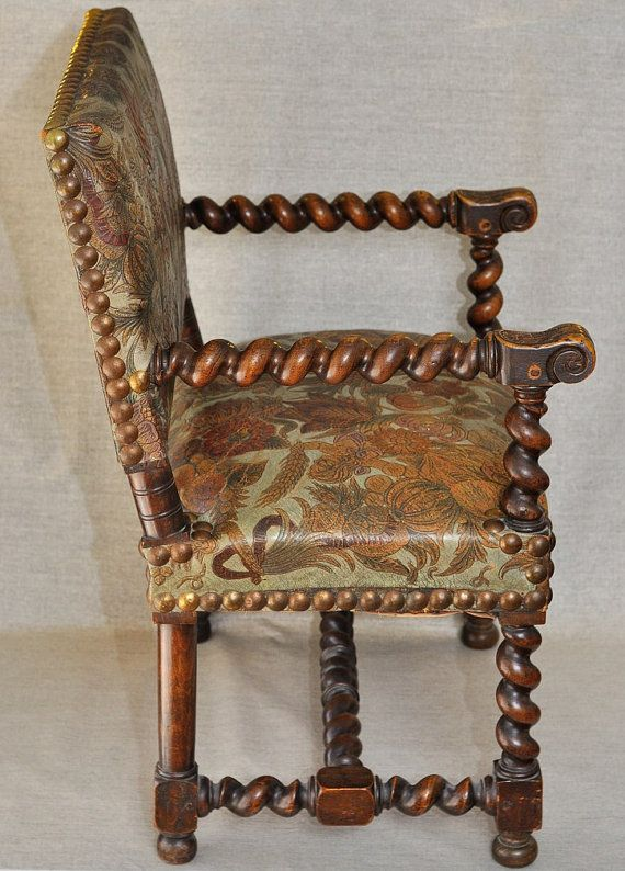 Antique Armchair Louis XIII Carved Walnut Wood and Embossed Leather