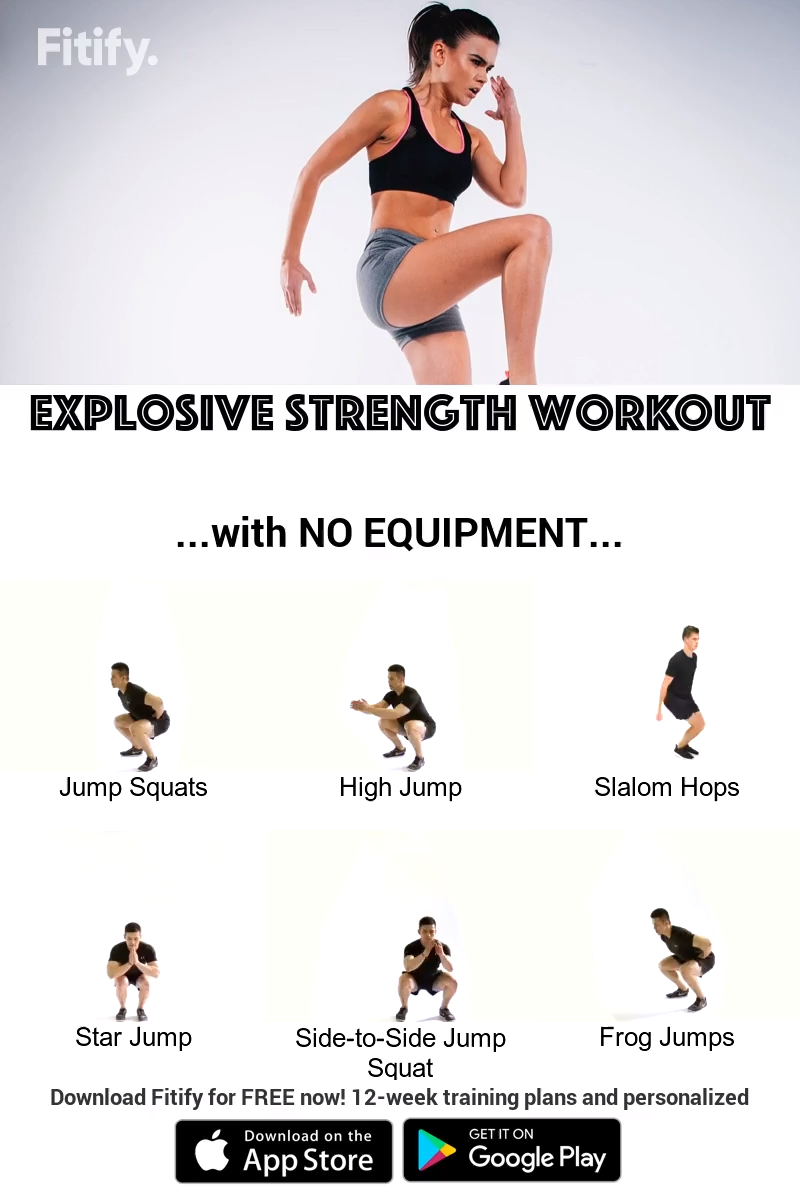 No Equipment Explosive Power Jumps Routine Plyometric Training Is A Great Way To Build Explosive Power In In 2020 Strength Workout Plyometric Workout Agility Workouts