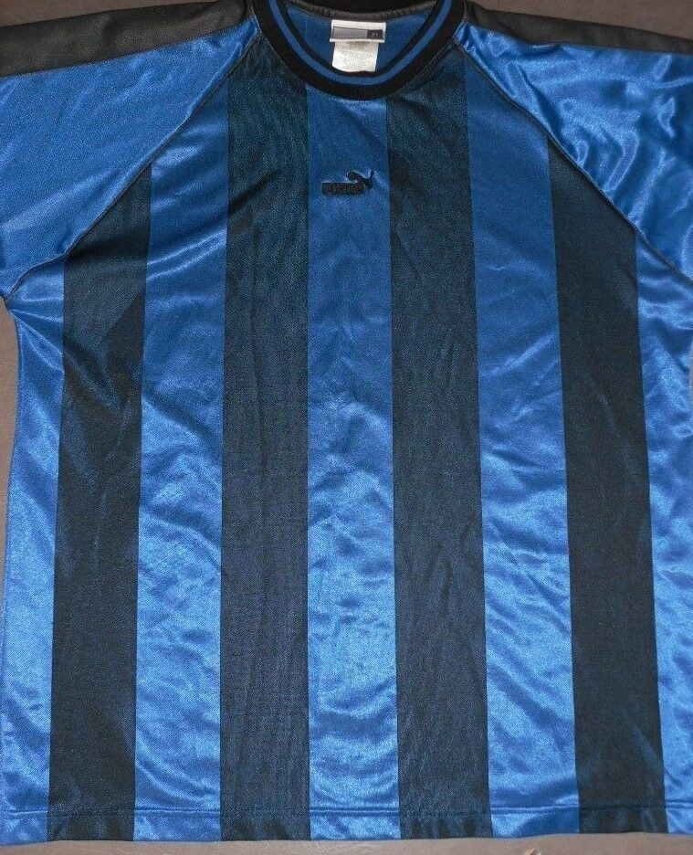 aa81e27b333 VTG 90s Puma Striped Black Blue Stripe Athletic Soccer Shirt USA Men s  XLarge XL - Soccer