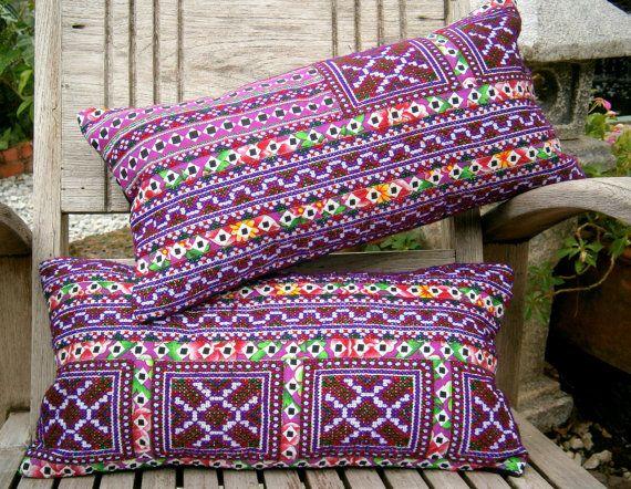 Purple Hmong Embroidered Lumbar Pillow Colorful Boho Pillow, Rectangular Cushion Cover, ** Free Worldwide Shipping