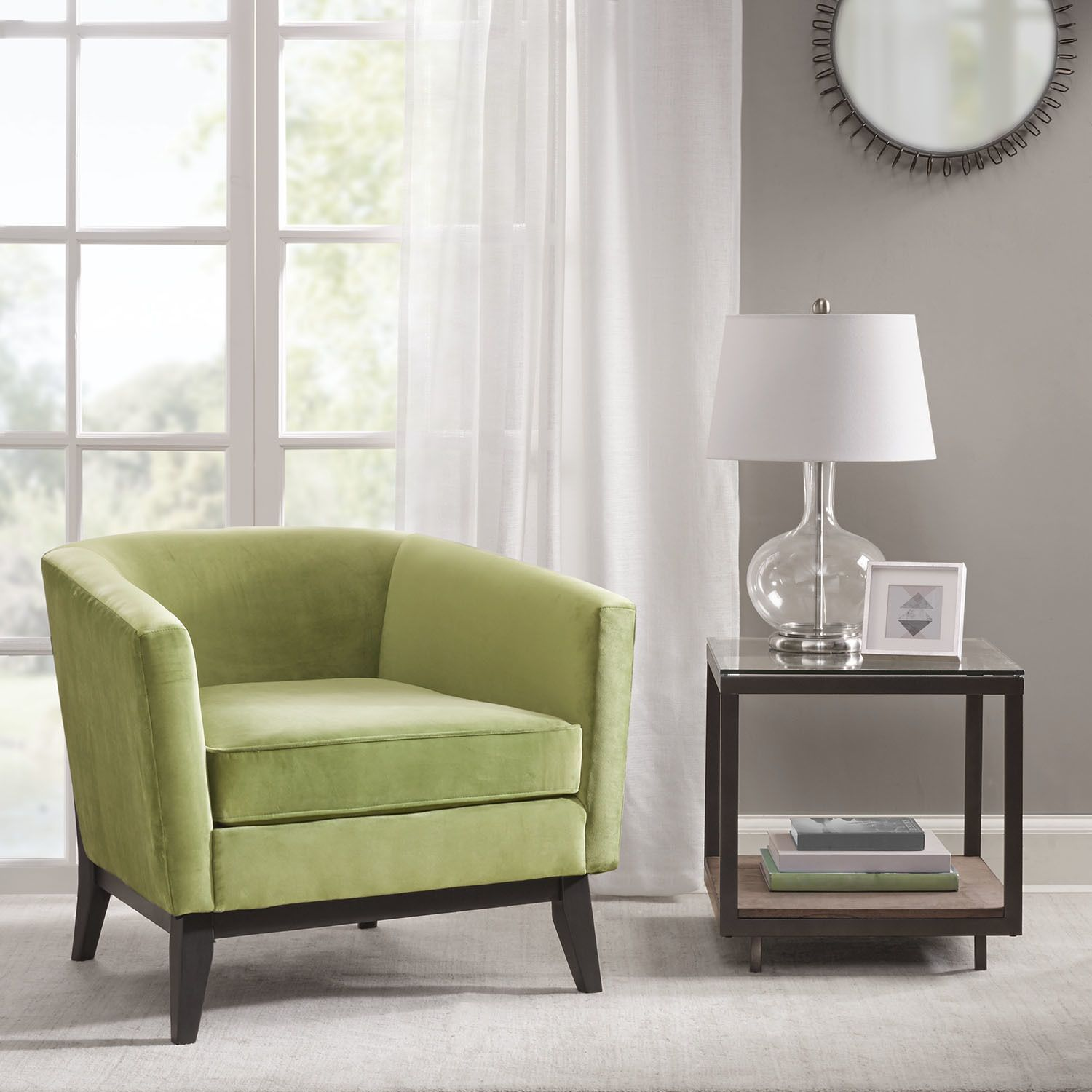 Percy Accent Chair Moss Green Velvet (.) (Fabric) #greenroom | green ...