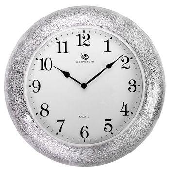 Beautiful Living Room When Creative Fashion Watches Art Deco Silver Mosaic Wall  Clock Postmodern Glass Wall