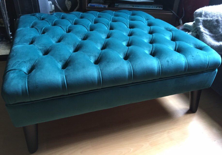 X Large Teal Deep Buttoned Plush Velvet Bench Footstool Ottoman