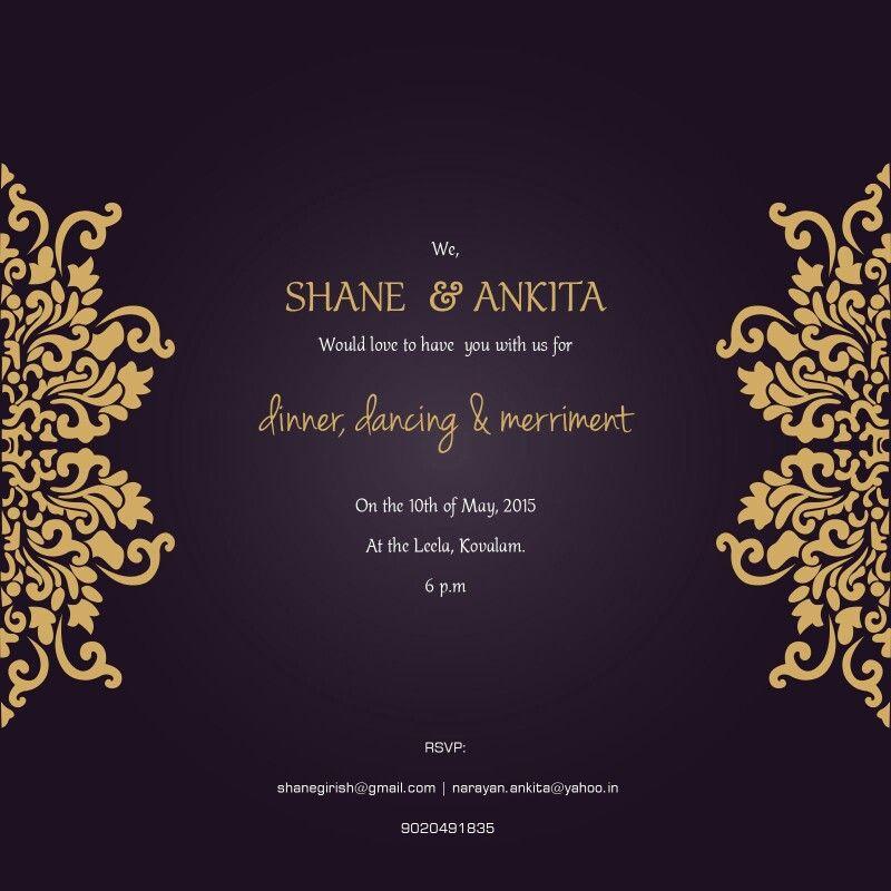 Our Wedding Reception Card ShaneAndAnkitaWedding