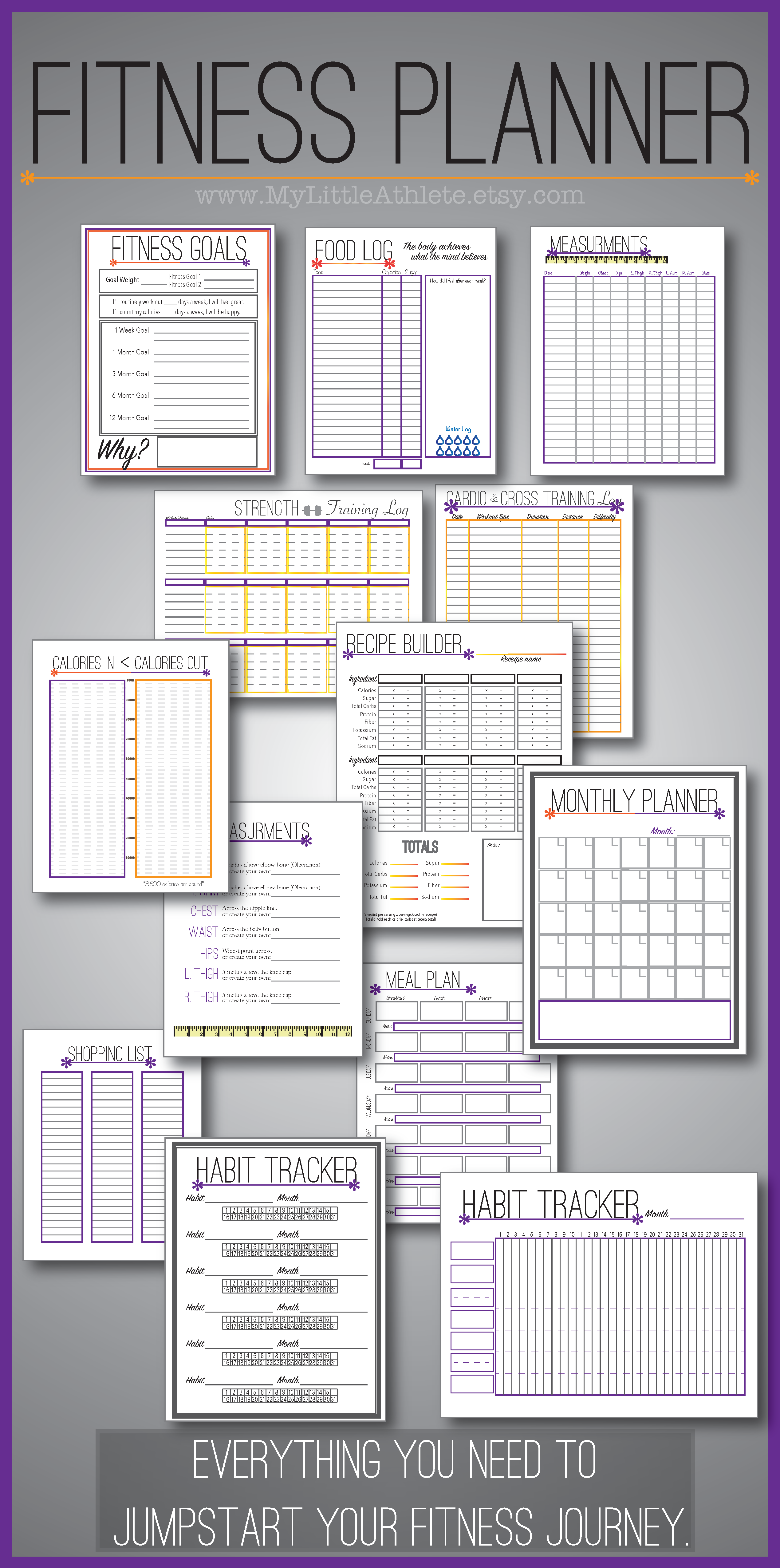 a fitness planner that includes a strength and cardio log food log