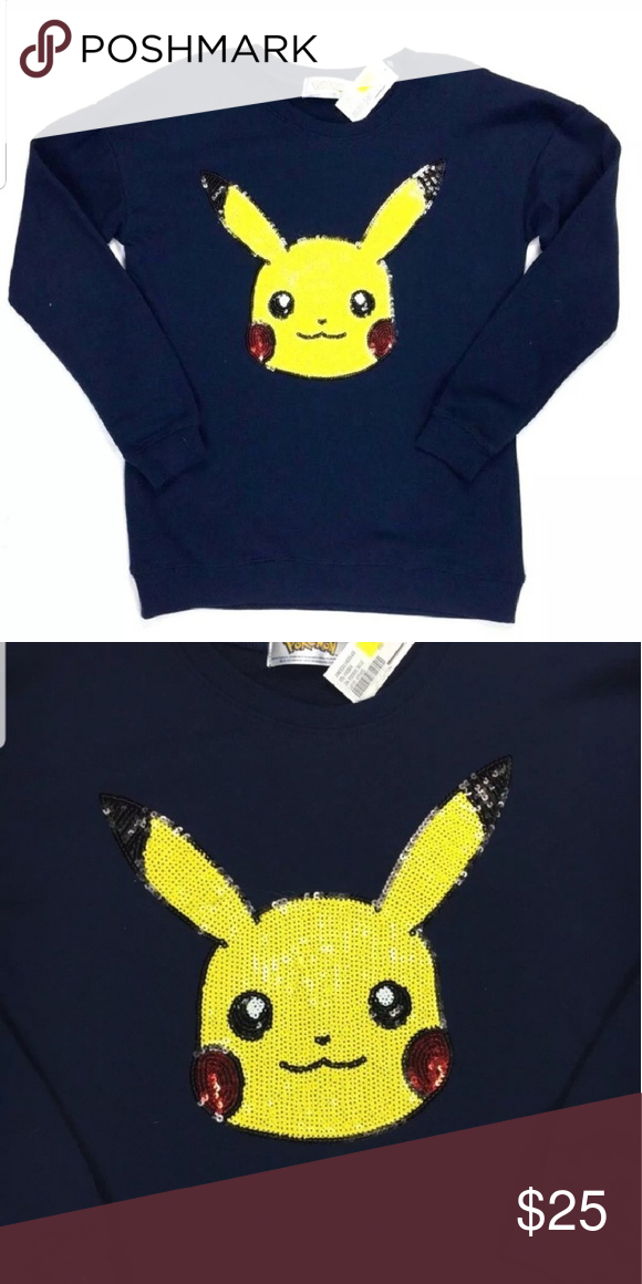 75dd25e8 Sequin Pokemon Sweatshirt Navy Pikachu Size Large. NWT. Pikachu face is  sequined, perfect for halloween!! Pokemon Sweaters Crew & Scoop Necks
