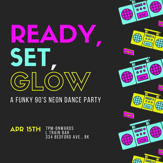 Glow 90 S Neon Dance Party Invitation Templates By Canva Circa