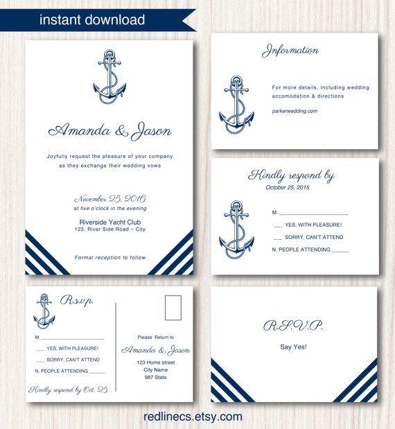 Modelli Partecipazioni Matrimonio Word.Partecipazioni Di Matrimonio In Stile Nautical Template Con Ancora