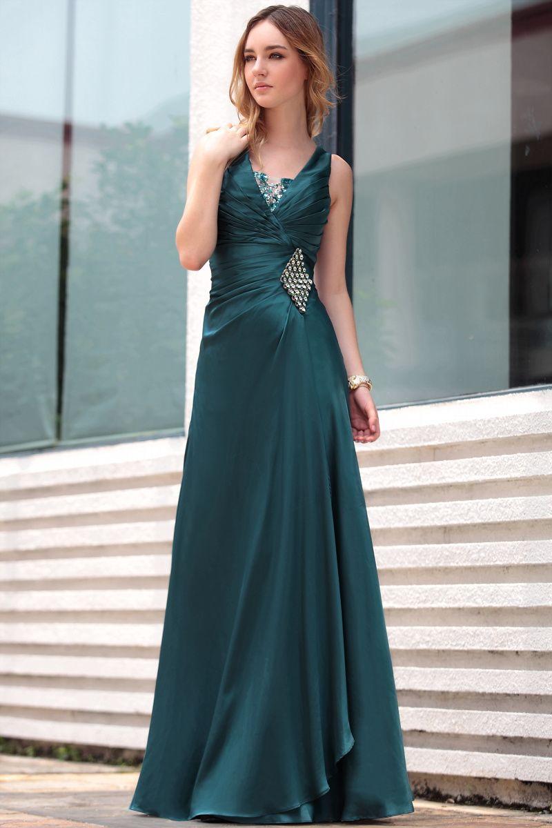 Fashion formal dress plus size green vneck long celebrity party