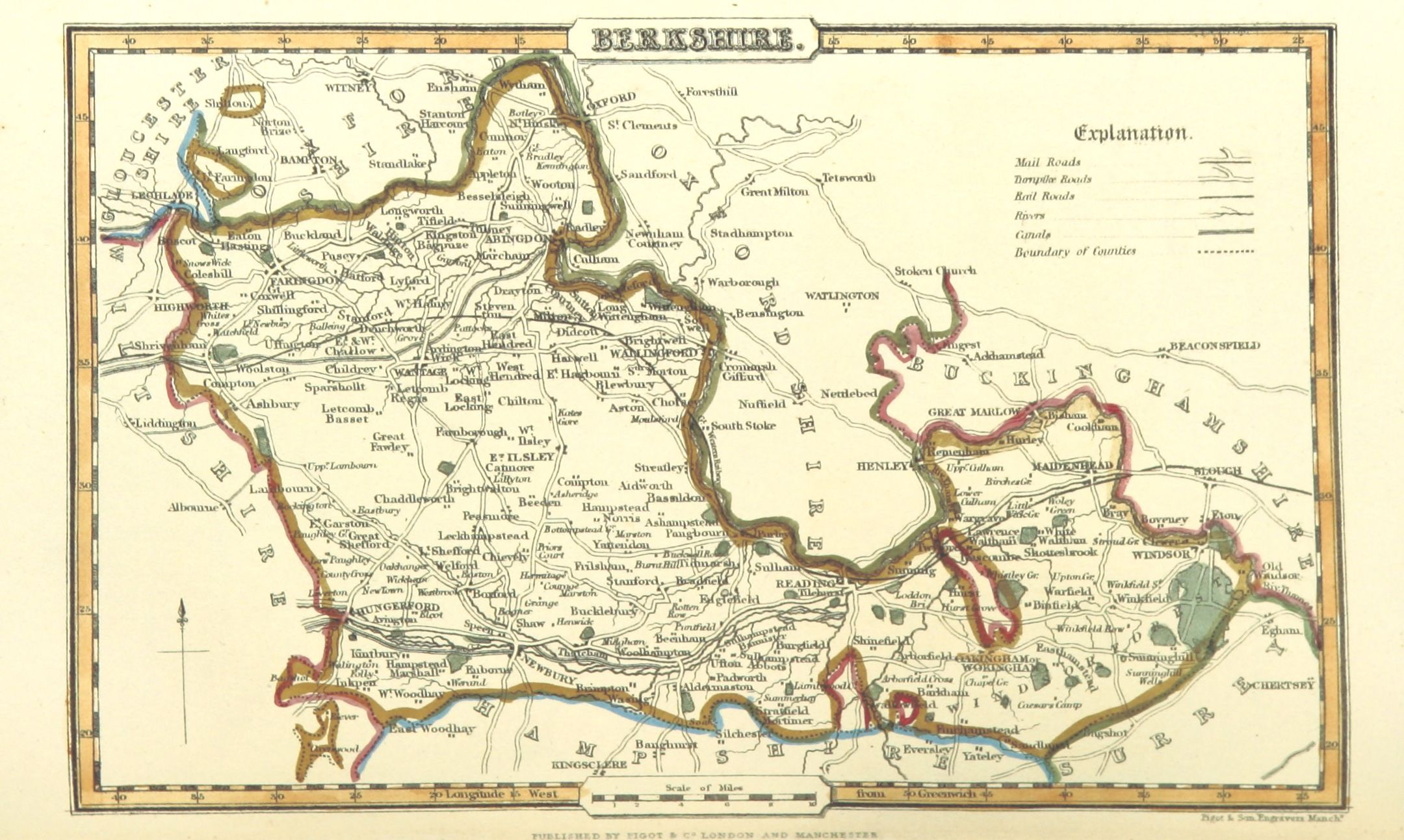 Map Of Berkshire England 1842 Maps Pinterest Map County