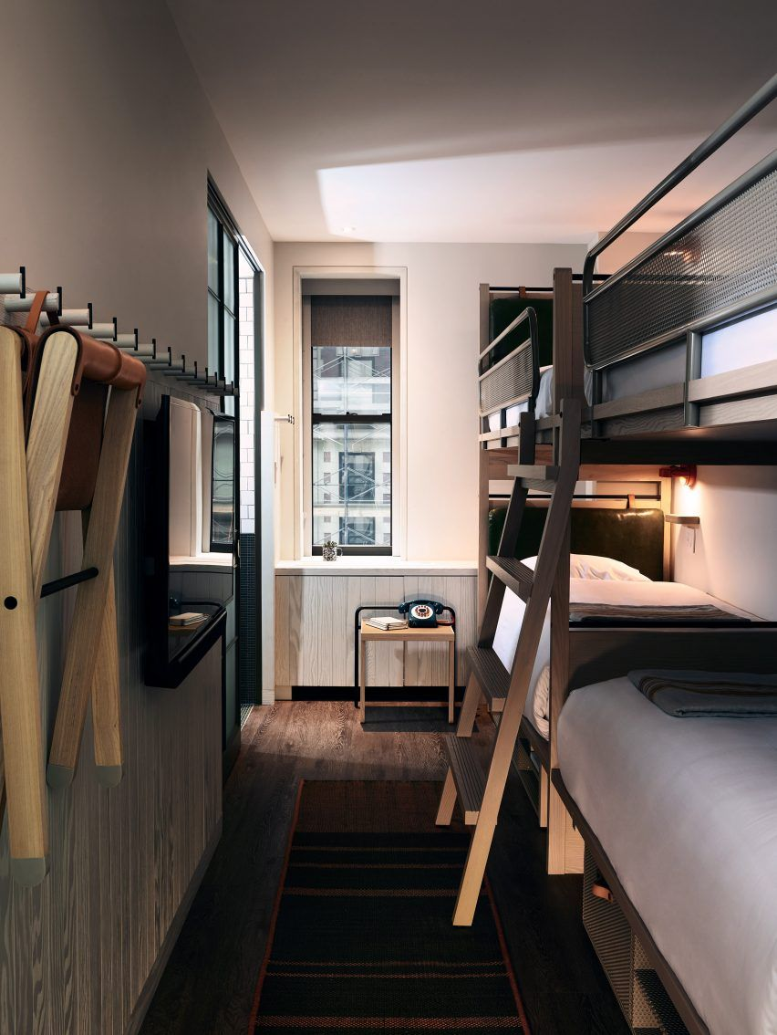 Foldaway chairs and bunks furnish bedrooms at Moxy Times