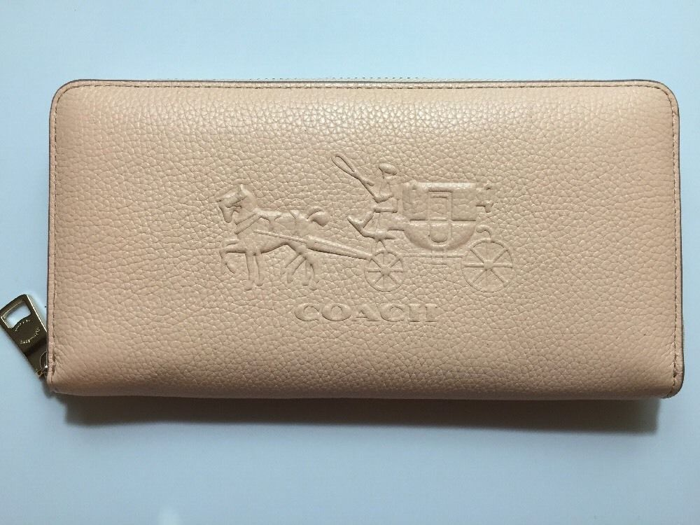 low priced d0100 26a24 Coach 52401 Embossed Horse Carriage Accordion Zip Wallet ...