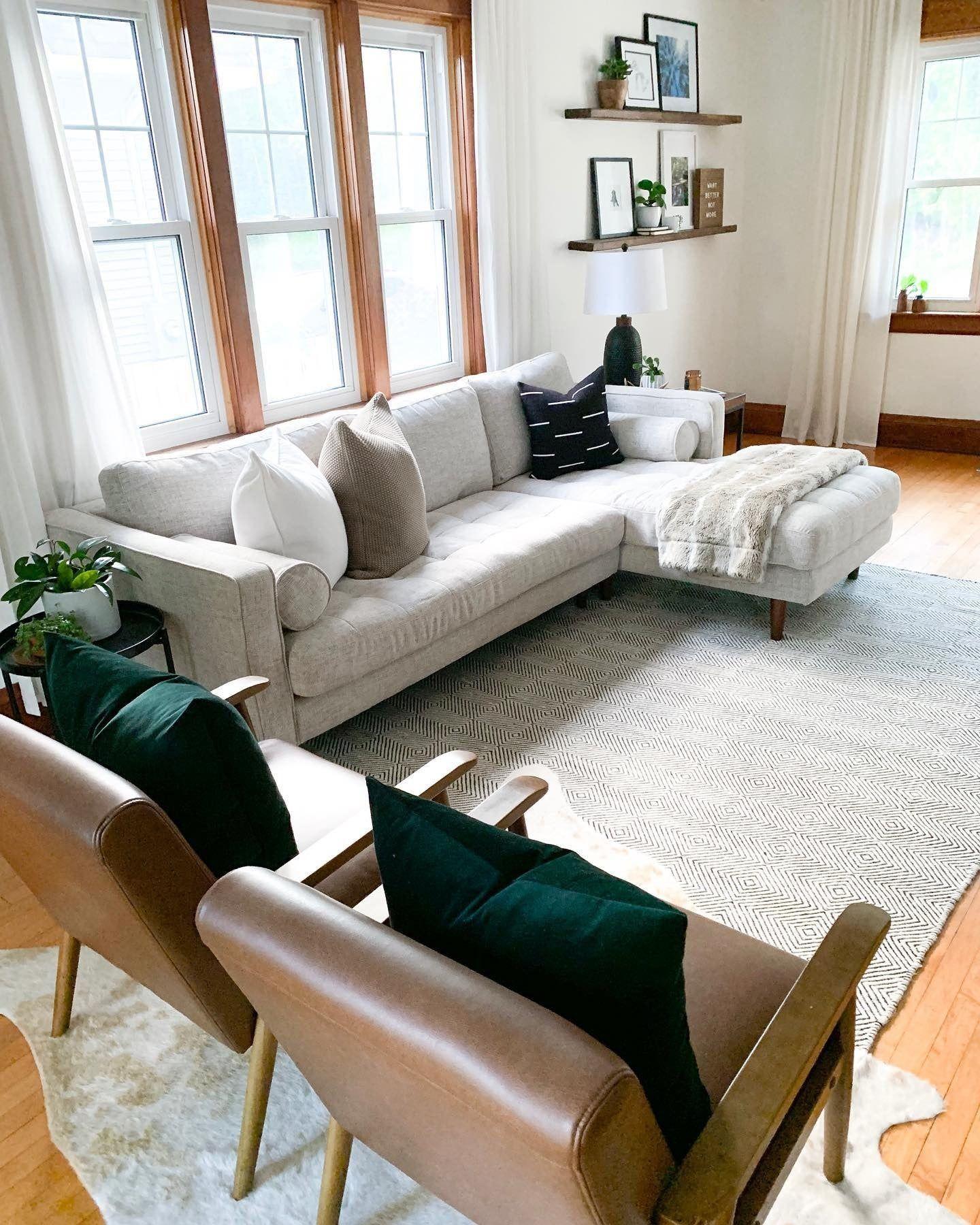 Sven Birch Ivory Right Sectional Sofa Sectional Sofa Mid Century Modern Sectional Sofa Grey Sectional Sofa