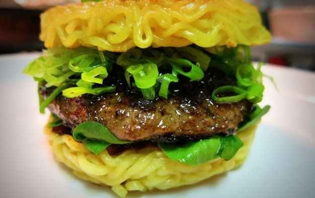 Ramen Burger (available at Smorgasburg , NYC) | 30 Most Earth-Shattering Foods Born In 2013