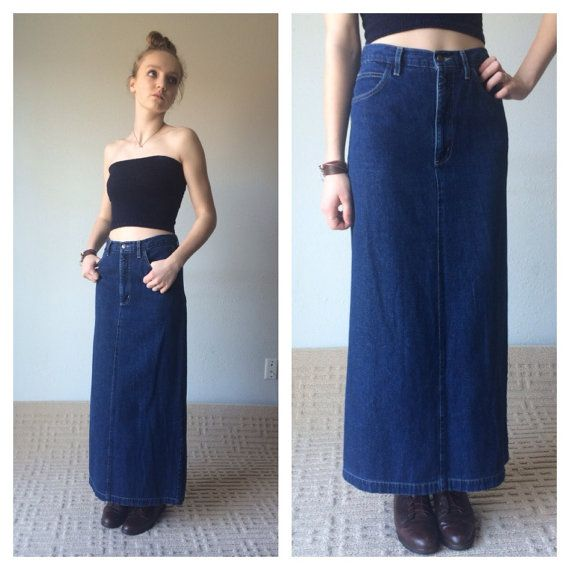 90s Maxi Skirt Denim Maxi Skirt Ankle Length by MileZeroVintage ...
