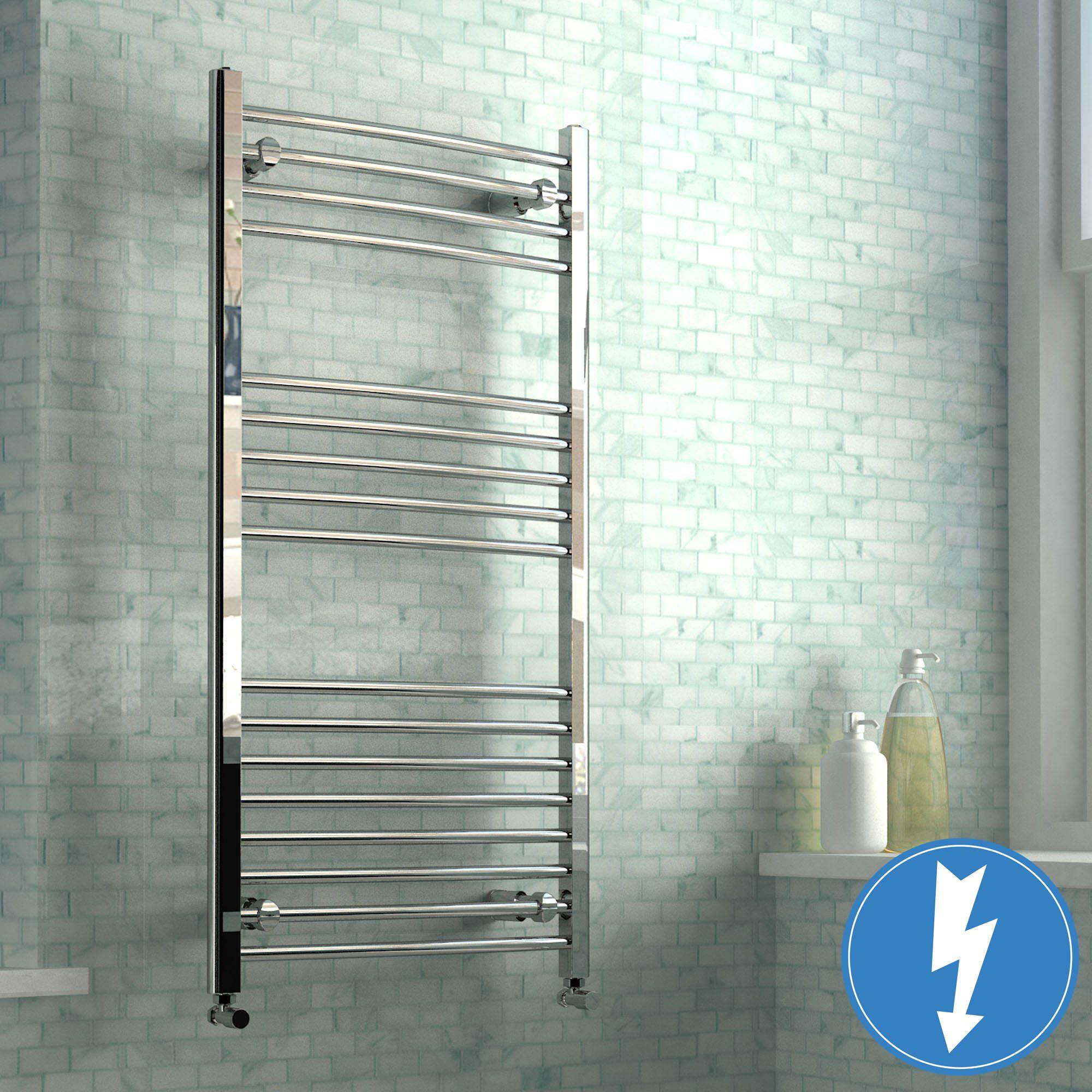 Natasha ladder rail straight modern electric towel radiator in chrome - Ladder Rail Curved Modern Electric Towel Radiator In Chrome 1200mm X 600mm