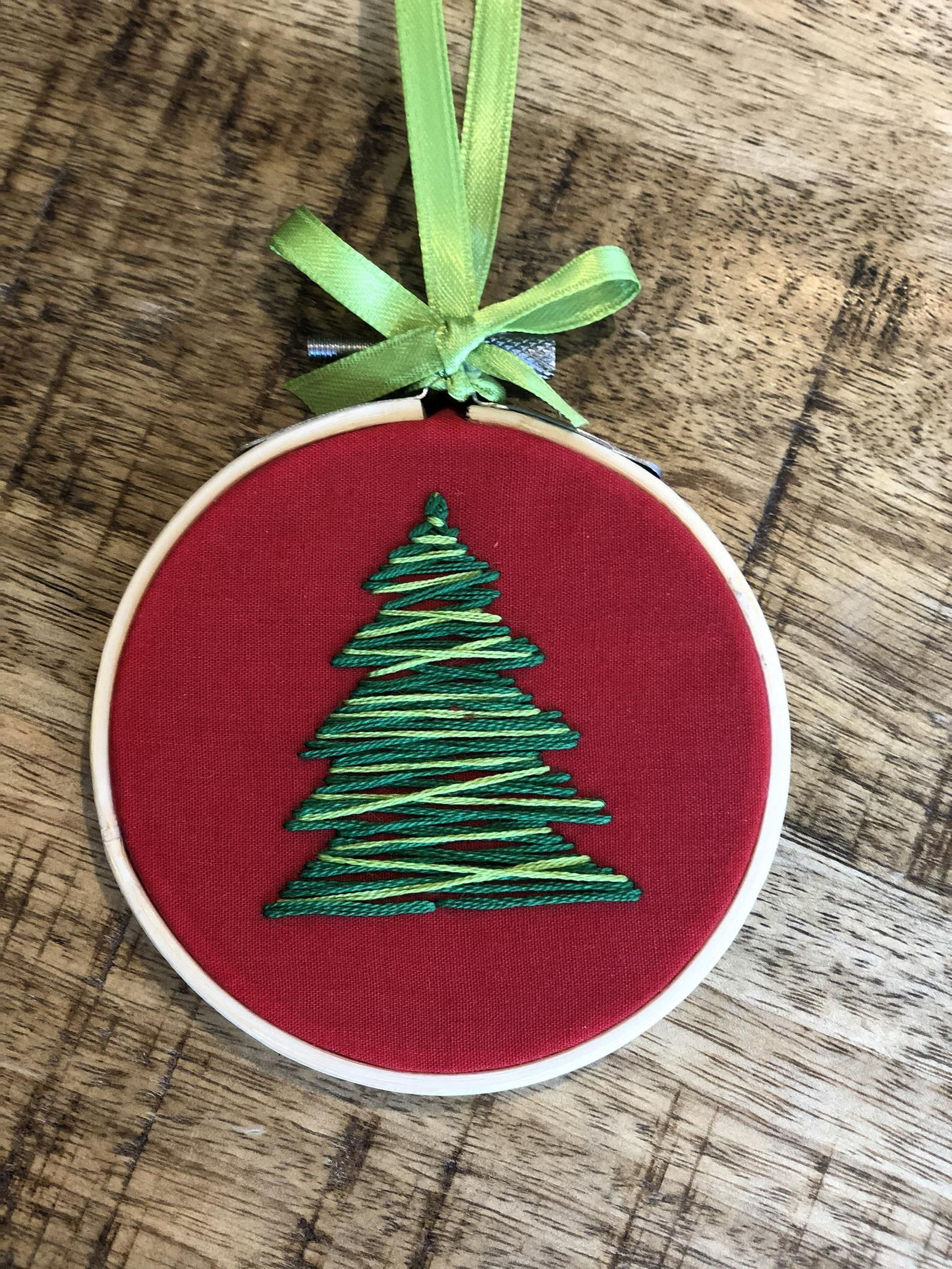 Hand Embroidered Christmas Tree Ornament Etsy Embroidered Christmas Ornaments Christmas Embroidery Designs Christmas Embroidery Patterns