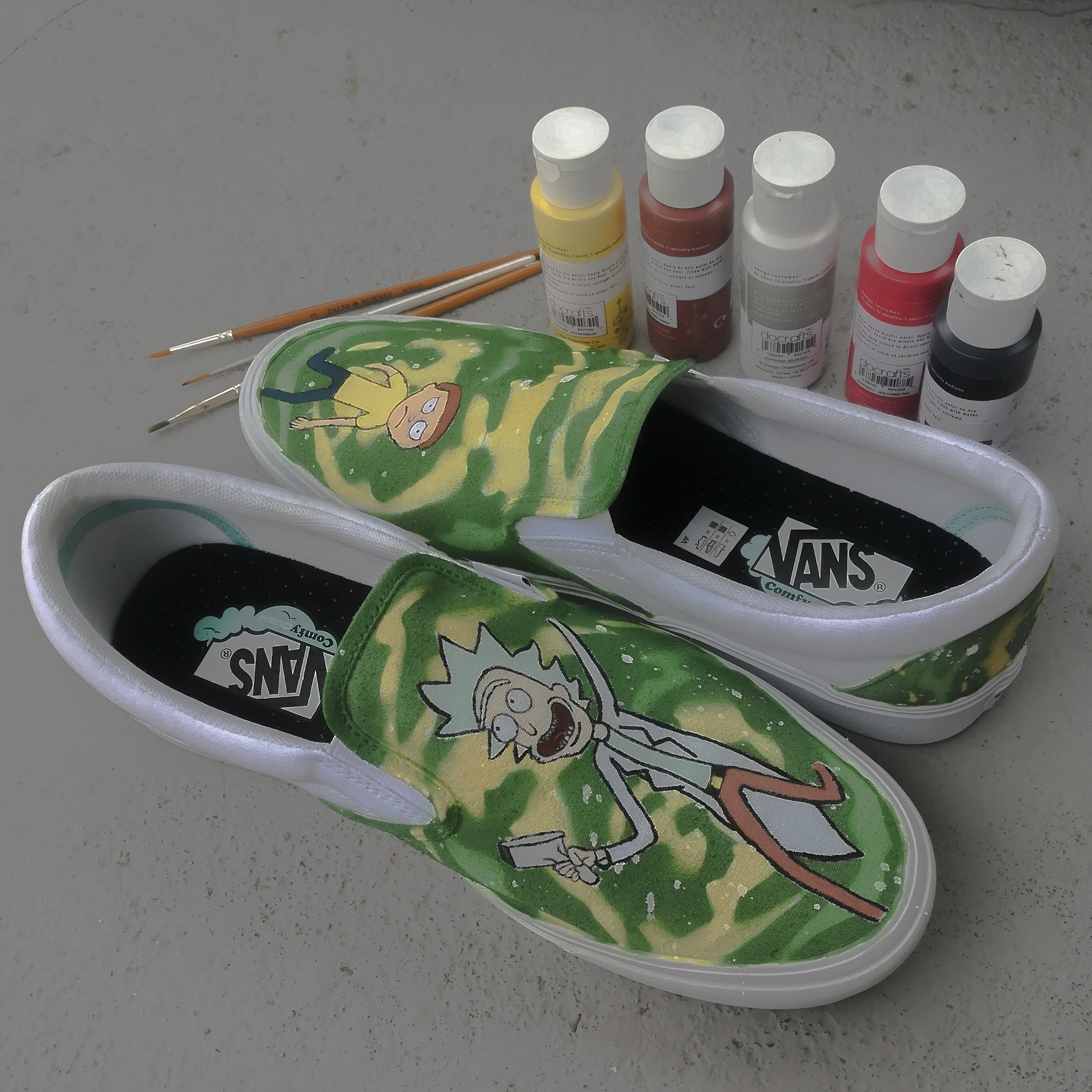 Art My First Custom Shoe Rick And Morty Vans With Images