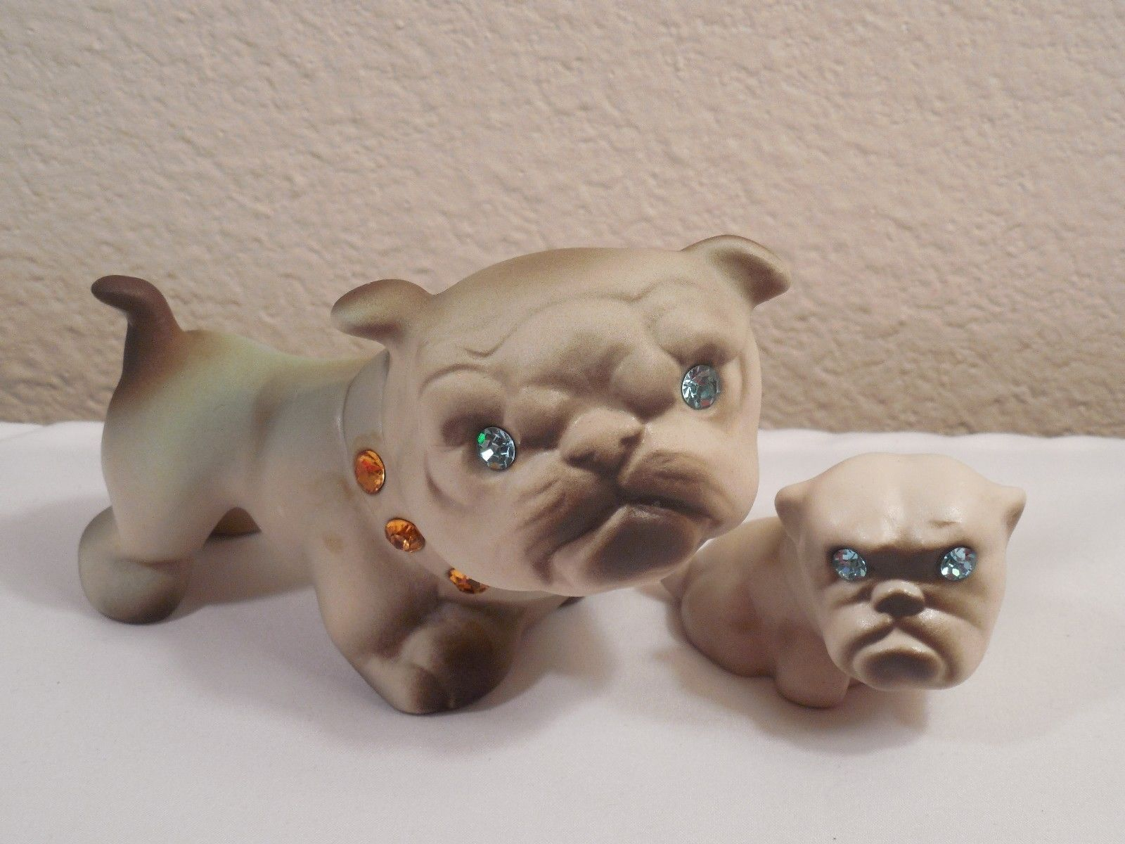 Vintage Pair California Pottery Usa Mother Puppy Bulldog Figurines