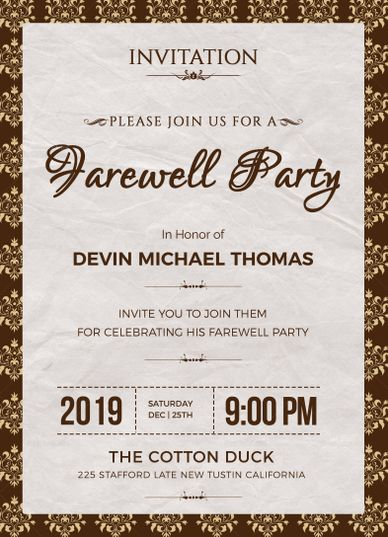 Farewell Invitation Template Farewell invitation, Flyer template - invitation templates for farewell party