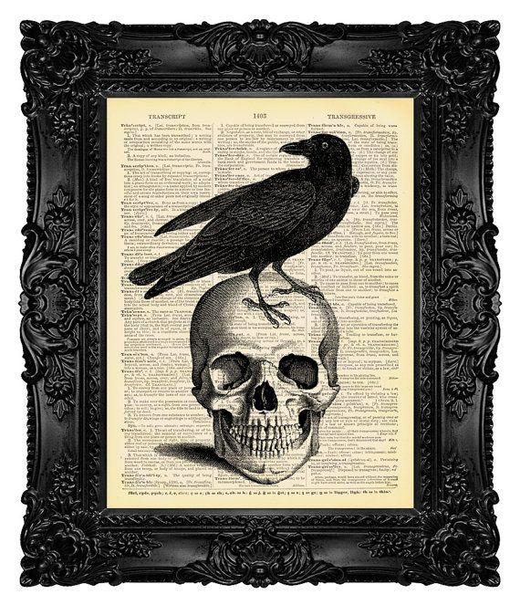 Raven Art Imprimé sur antique Dictionary Livre Page Wall Decor Crâne Photo Tatouage