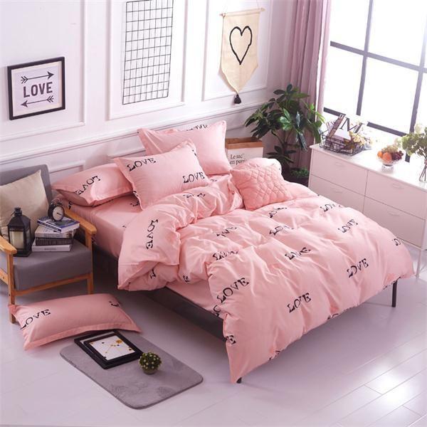 Housse de couette Print simple 4Pcs king size bedding sets luxury ...
