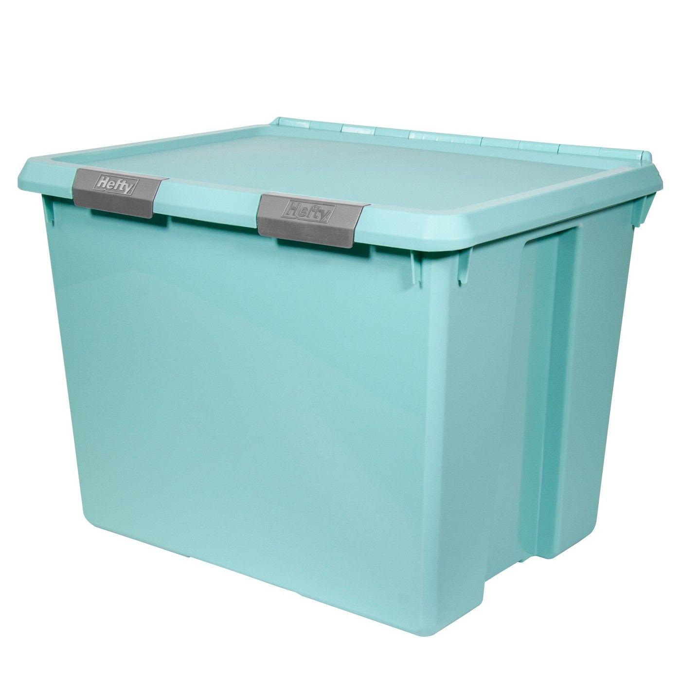 Hefty Hinged Lid Storage Box Jade Opaque 70qt Image 1 Of 5 Lid Storage Storage Tubs Utility Storage