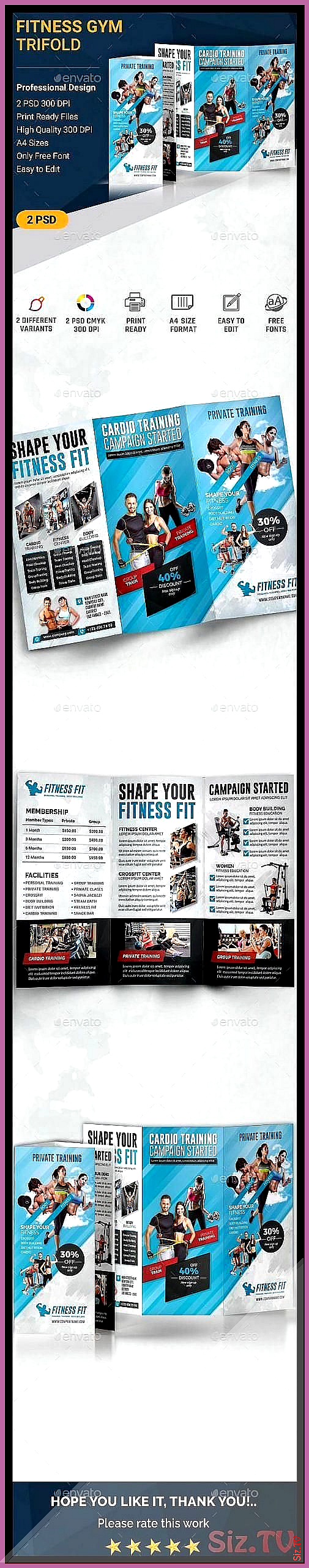 Fitness Trifold Fully customizable professional template for a brochure Brochu  Fitness Trifold Full...