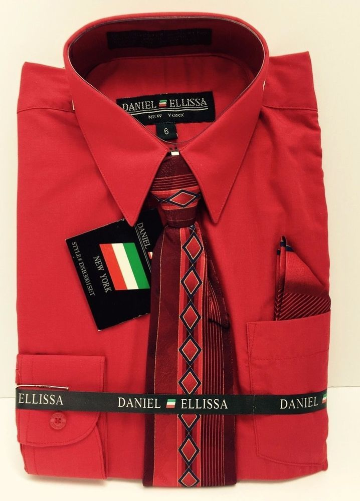 Boys Dress Shirt Red with Red & Royal Blue Tie & Hanky Back to ...